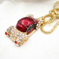 Gold Plated Crystal Red Sports Car Charm Pendant Sweater Chain Necklace