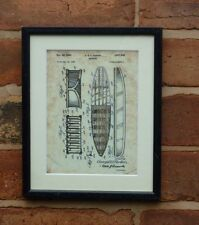 """USA Patent vintage SURFBOARD Parker surf wave Mounted Matted PRINT 10"""" x 8"""" 1950"""