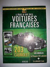 """PEUGEOT 203 cabriolet - Fascicule """"L'Age d'Or des Voitures Françaises Atlas"""""""