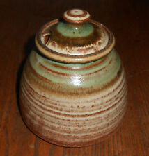 Vintage Honey Jar / Pot Hand Thrown Pottery Signed Art Potery Brown w/Green