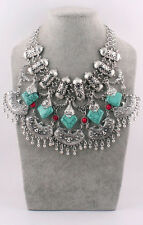Boheimia Turquoise Pendants Bib Statement Chunky Retro Silver Necklace Collar