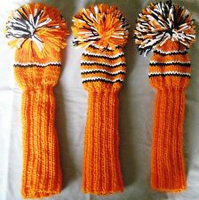 Golf club head covers, Hand knit, Custom colors