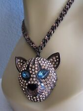 BETSEY JOHNSON JUNGLE FEVER PAVE CRYSTAL COUGAR/PANTHER STATEMENT NECKLACE~RARE