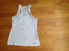 Hollister Girls White Tank Top Size XS / Extra Small  with Ruffle Front Design