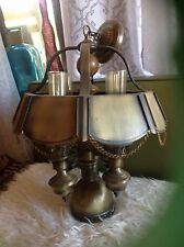 VTG  Brass Lamp Hanging Ceiling Light fixture with globes wood metal chandelier