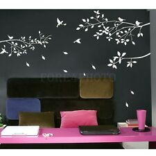 Fashion White Tree Branches Birds Leaves Home Wall Stickers Living Room Decals
