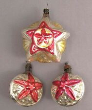 Christmas Tree Decoration Set 3 Russian Soviet Glass Vintage Old XMAS Ornament