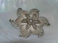 "Vintage Sterling Silver Marked Wire Layered Flower Pin Brooch – signed ""Sterling"