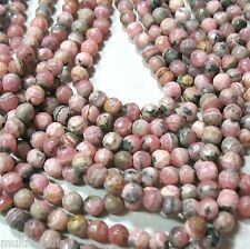 """Pink Rhodochrosite 4.5mm Faceted Round Beads 15"""" Natural Color Genuine Stone"""