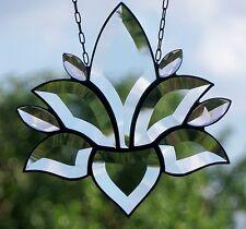 Bleiverglasung Bleiglas Fensterbild Facetten- Lotus mit hellrose' in Tiffany