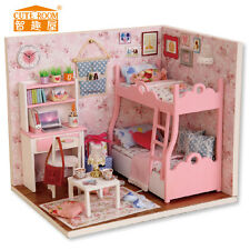 DOLLHOUSE MINIATURE DIY KIT W/ LIGHTS, H-012, WAIT FOR LOVE (GIRL ROOM) + A GIRL