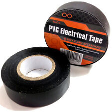 2 x BLACK ELECTRICAL PVC INSULATION INSULATING TAPE 19mm x 20m FLAME RETARDANT
