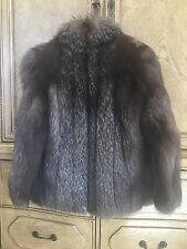 Brown women's 100% real authentic fox fur jacket coat small/medium size