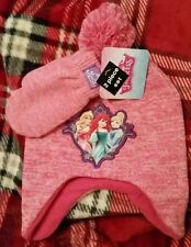 NWT DISNEY PRINCESS CHILD HAT & MITTEN SET PINK ARIEL CINDERELLA SLEEPING BEAUTY