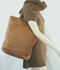 $995 FALORNI F901 Camel Woven Leather Tote Hand Bag Women Hobo Lady Gift ITALY