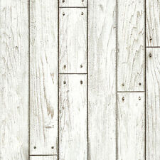 White Wood Panel Self Adhesive Wallpaper Rustic Wallcovering for Living Rooms
