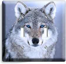 WILD GRAY WOLF W BLUE EYES SNOW DOUBLE LIGHT SWITCH WALL PLATE COVER HOME DECOR