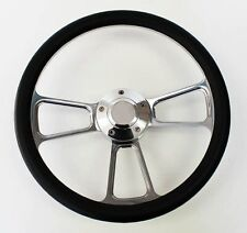 1960-1969 C10 C20 C30 K10 K20 K30 Chevy Truck Steering Wheel Black & Billet 14""