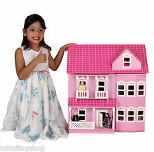 Brand New Beautiful Pink Victorian Wooden Dolls House, 40+ Furniture & 4 Dolls