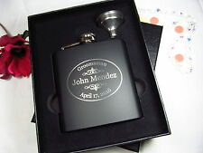 4 Personalized Flasks Gift Box Groomsman Best Man Weddings Engraved Funnel OVAL