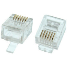 Eagle 100 Pack RJ12 Plug 6P6C Gold Flat Stranded Phone Connector 6 Pin Snap In