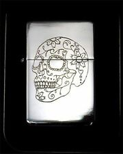 Sugar Skull Engraved Chrome Cigarette Lighter Wedding Favor New Gift LEN-0039