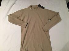 NWT $49.99 Under Armour Coldgear Mens Mock Compression LS Shirt Tan Sz Medium