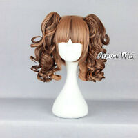 Blonde Mixed Brown Curly Style Women Girl Anime Cosplay Hair Wig With Ponytails