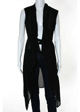 GARETH PUGH Black Cotton Sleeveless Sheer Silk Trimmed Vest Sz 8