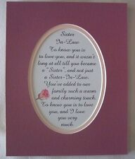 SISTER  IN  LAW Family WARM CHARMING TOUCH Love You Much verses poems plaques