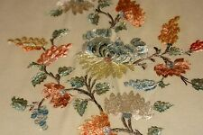 Large silk embroidered double bed cover. Victorian.