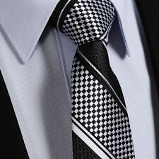 Chequered Mens Tie -Black & White Silver- SALE Stripe Silk Wedding Necktie Gift