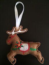 Handmade Felt Embroidered Reindeer Christmas Tree Decoration.
