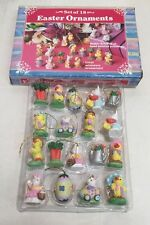 Set Of 18 Miniature Easter Ornaments New Bunny Egg Chick Polystone