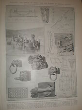 Ancient Rome galleys recovered from lake Nemi 1905 print