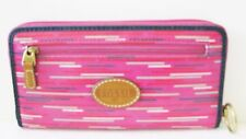 NEW FOSSIL KEYPER BERRY STRIPE,PINK,RED,GREEN,BLACK,PVC,ZIP AROUND,CLUTCH WALLET