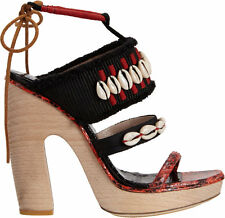 Dries Van Noten Red & Black Cowrie Shell and Wooden Platform Sandal 37 7 $1150