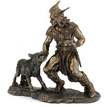 "10.5"" Norse God Tyr & Fenrir Viking Statue Mythology Figurine Figure Deity Pagan"