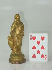 Antique Gold Plated lady Spelter Gilded Finel Clock Part STATUE SCULPTURE