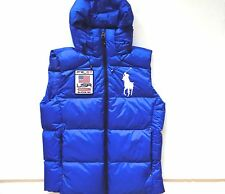 New Ralph Lauren Polo Big Pony USA Patch Blue Hooded Puffer Down Vest XL