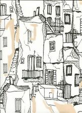 Southwestern Adobe Village Black & White Toile Wallpaper KE29943