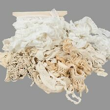 Vintage Eyelet Lace Crochet Lot Trims Remnants Fringe Crafts Sewing White Ivory
