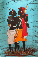 1X Oil Batik painting African modern home decor wall canvas art couple on cloth