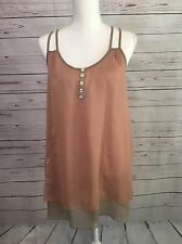 YA of Los Angeles Rose & Taupe Silk Blend Halter Blouse Top w/Pleating Size M