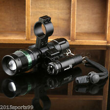 Tactical Cree LED Zoomable Flashlight + Red Laser Sight + Scope Barrel Mount #06