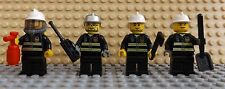 4 LEGO Mini Figures Fireman Firefighters Accessories Hose Radio Axe Spade F3