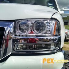 Chrome 4Pcs Set: [GMC Sierra / Yukon] LED Halo Headlights W/ Bumper Signal Light