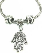 Fashion Vintage Tibetan Silver Hand Charm Bracelet Chain Bangle Elephant beaded