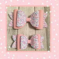Big Sister , Little Sister Glitter & Leatherette  Bubblegum Hair Bow Set