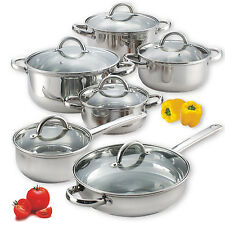 Induction Cookware 12 Piece Stainless STEEL Set Pans Cooking Pots Cook N Home
